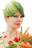 Vegetable girl Royalty Free Stock Images