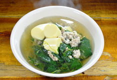 Vegetable gourd with minced pork and egg tofu hot soup Stock Photos