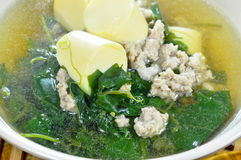 Vegetable gourd with minced pork and egg tofu hot soup Royalty Free Stock Image