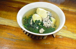 Vegetable gourd with minced pork and egg tofu hot soup Royalty Free Stock Photography
