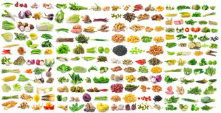 Vegetable grains and herbs on white background