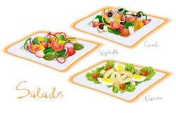 Vegetable, Greek, Caesar Salads. Vector illustration. Vegetable, Greek, Caesar Salads Royalty Free Stock Images
