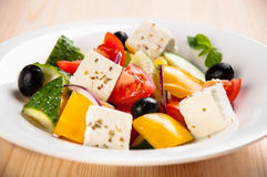 Vegetable greek salad with cheese Royalty Free Stock Images