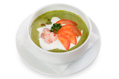Vegetable green cream soup Royalty Free Stock Image