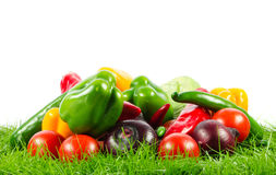 Vegetable on green gras on isolated white  background healthy nutrition Stock Photo