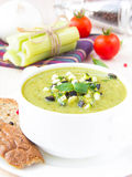 Vegetable green healthy cream soup with avocado, celery, zucchin Stock Photography