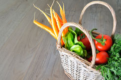 Vegetable groceries on the wooden kitchen table stock image