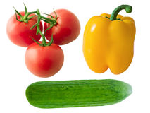 Vegetable group (1). Salad set. Tomatoes, yellow pepper and cucumber on white background Stock Images