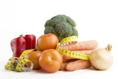 Vegetable Group. Of food with tape measure Royalty Free Stock Images