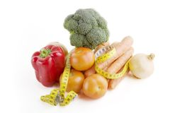 Vegetable Group. Of food with tape measure Stock Image