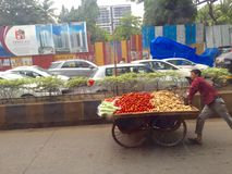 Vegetable hand cart vendor Royalty Free Stock Photo