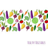 Vegetable hand drawn background.  vegetables frame border vector illustration. Vegetables stylized collection Stock Photo