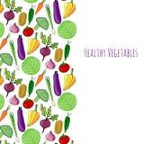 Vegetable hand drawn background.  vegetables frame decoration vector illustration. Stock Photography