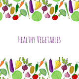 Vegetable hand drawn colorful background.  healthy food decoration vector illustration. Stock Photos