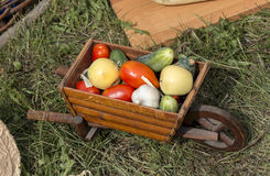 Vegetable harvest is in the trolley Stock Image