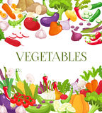 Vegetable and healthy food menu poster. Fresh carrot, tomato, pepper, onion, broccoli, cabbage, garlic, cucumber Royalty Free Stock Photo