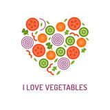 Vegetable heart logo. Vegetable heart with the inscription: I love vegetables. Element for your design, print for t-shirts, brochures and other. Flat design Stock Photos