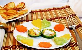 Vegetable hearts on a dish