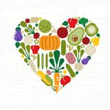 Vegetable icon heart shape for food concept vector illustration