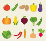 Vegetable icon set. The image of vegetables symbol Stock Photos