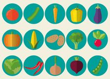 Vegetable icon set. The image of vegetables symbol Royalty Free Stock Images