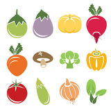Vegetable icon set. On white background Stock Photos