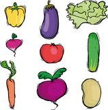 Vegetable icons. Nine vegetable icons, vector illustration Stock Photography
