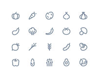 Vegetable icons. Line series Royalty Free Stock Photos