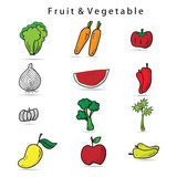Vegetable icons set cartoon Stock Images