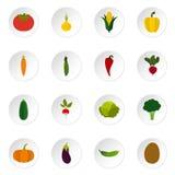 Vegetable icons set, flat style. Vegetable icons set. Flat illustration of 16 vegetable icons for web royalty free illustration