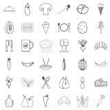 Vegetable icons set, outline style. Vegetable icons set. Outline style of 36 vegetable vector icons for web isolated on white background Stock Image