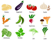 Vegetable Icons With Title Stock Photos