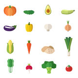 Vegetable icons vector set. Flat design. Isolated objects. Stock Photo