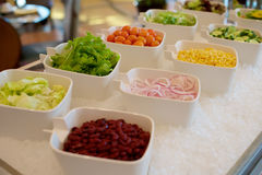 Vegetable ingredients on a salad bar Stock Photos