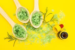 Vegetable ingredients for skin care on a yellow background royalty free stock photo