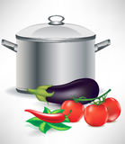 Vegetable ingredients and soup pot Royalty Free Stock Images