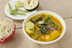 Vegetable Ipoh curry mee. Is a light, hot and spicy curry which is served with noodles Royalty Free Stock Images