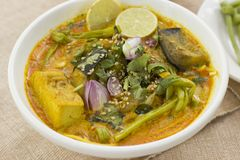 Vegetable Ipoh curry mee. Is a light, hot and spicy curry which is served with noodles Stock Photography