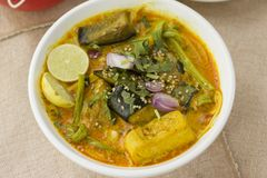 Vegetable Ipoh curry mee. Is a light, hot and spicy curry which is served with noodles Royalty Free Stock Photography