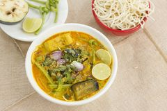 Vegetable Ipoh curry mee. Is a light, hot and spicy curry which is served with noodles Stock Photos