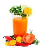 Vegetable juice. And vegetables isolated on white Stock Image