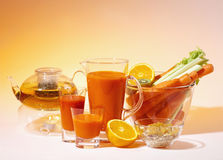 Vegetable juice. Fresh fruit and vegetable juices closeup royalty free stock image