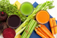 Vegetable juice. With beet carrot and celery Royalty Free Stock Photo
