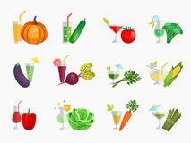 Vegetable juice flat icons set Royalty Free Stock Photography