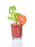 Vegetable juice glass with garnishings Royalty Free Stock Image