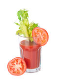 Vegetable juice glass with tomatoes 3/4 view Royalty Free Stock Photos