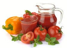 Vegetable juice with ingredients Royalty Free Stock Image