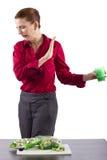 Vegetable Juice. Juicing diet. woman with green vegetable juice Royalty Free Stock Image