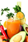 Vegetable juice and vegetables Royalty Free Stock Image