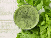 Vegetable juices. In glass. clean food for health. top view stock image